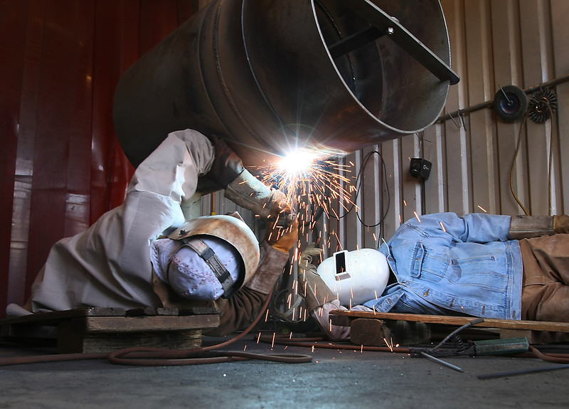 Pipeline workers practice their welding technique at the Pipeliners Local XX training facility in Tulsa.