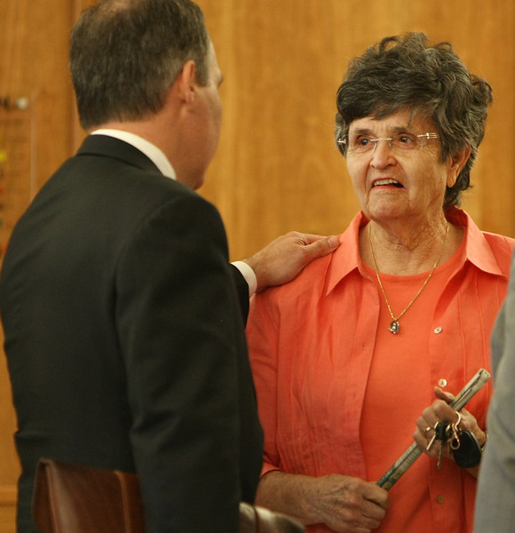Frances Minter, wife of Jay Minter the WW II veteran who was scalded to death visits with Oklahoma Attorney General Scott Pruitt prior to the unsealing of indictments in the Claremore Veterans Administration case.