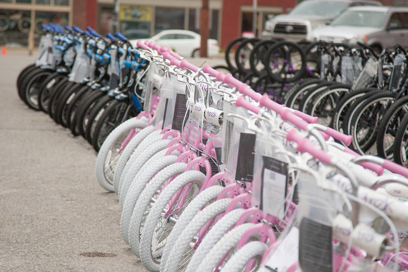 Trek Bicycle is donating 250 bikes for kids who were victims of this year's tornados. The bycyles are being distributed at Schlegal Bikes in downtown Oklahoma City, OK.