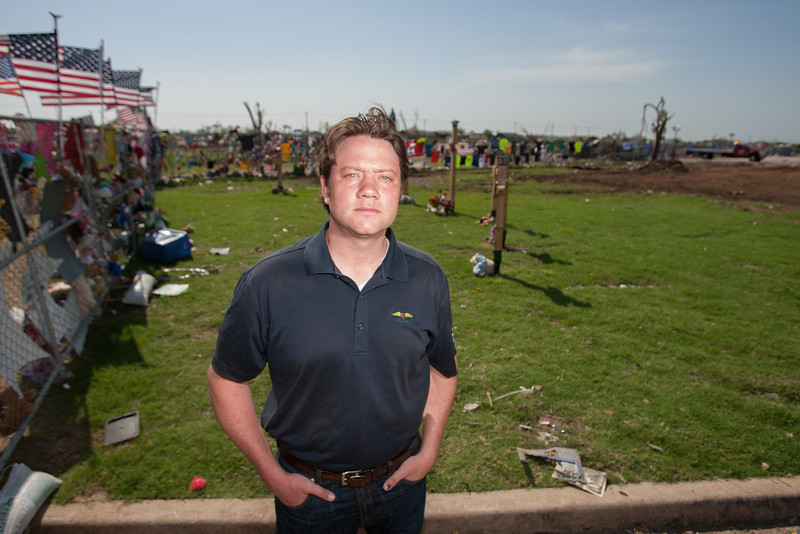 John Hunt, chairman of Shelter Oklahoma Schools, at the site where Plaza Towers Elementry was destroyed in Moore, OK.
