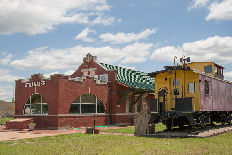 The historic Santa Fe Train Station on 9th Street in downtown Stillwater, OK.