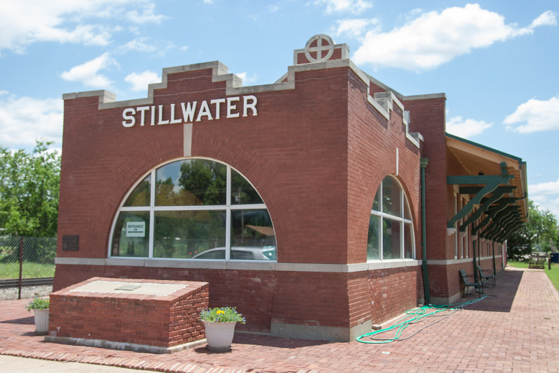 The historic Santa Fe Train Station on 9th Street in downtown Stillwater, OK.