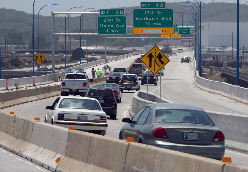 The Oklahoma Department of Transportation expects traffic to switch to the westbound bridge in early July, ODOT officials said. Deconstruction work should begin soon after that.