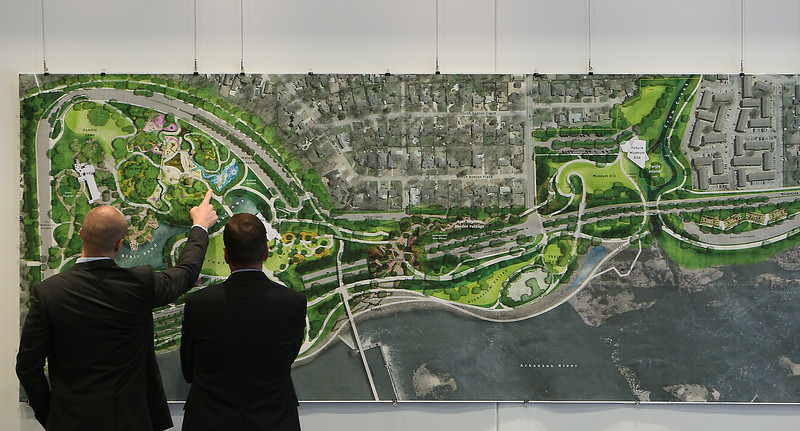Chris Gates and Mathew Urbanski of Michael Van Valkenburgh Associates discuss the layout of the proposed Gathering Place Park in Tulsa.