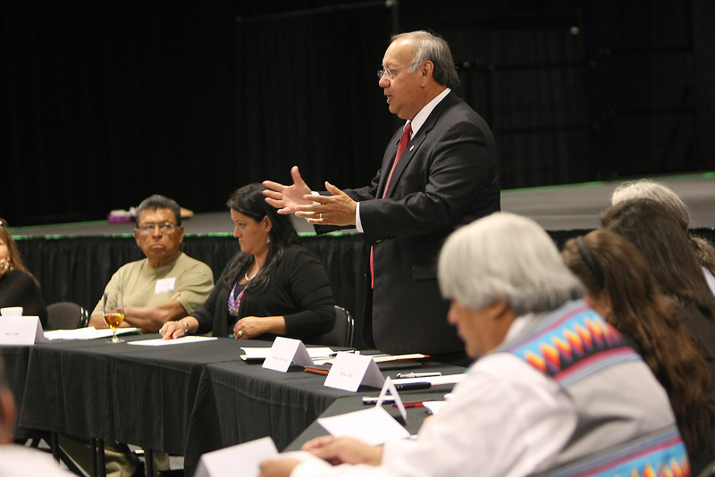 Members to the United Indian Nations of Oklahoma, Kansas and Texas (UINOKT) prepare for a historical meeting with Governor Mary Fallin in Tulsa.