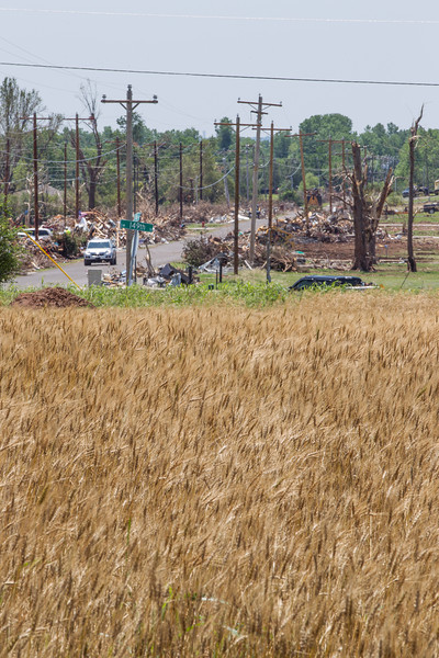 A wheat field in the path of destruction form the May 20 tornado on SW 149th Street in Oklahoma City, OK.