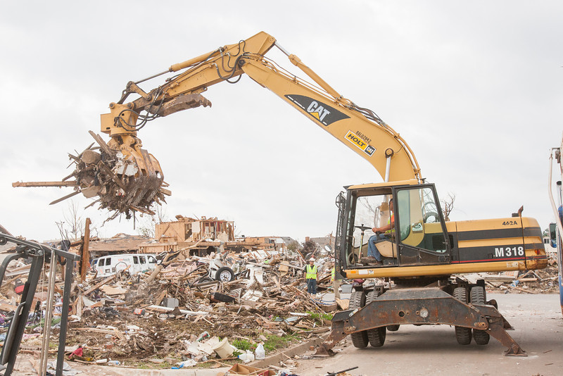 Clean up of homes destroyed by the May 20th tornado in Moore, OK.