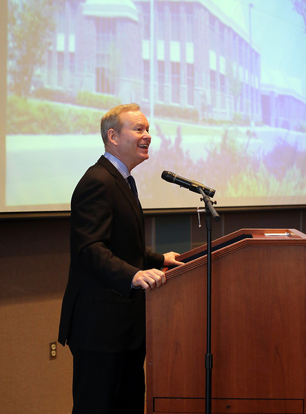 Oklahoma City Mayor Mick Cornett, gives his presentation at the Owasso Economic Summit Friday.