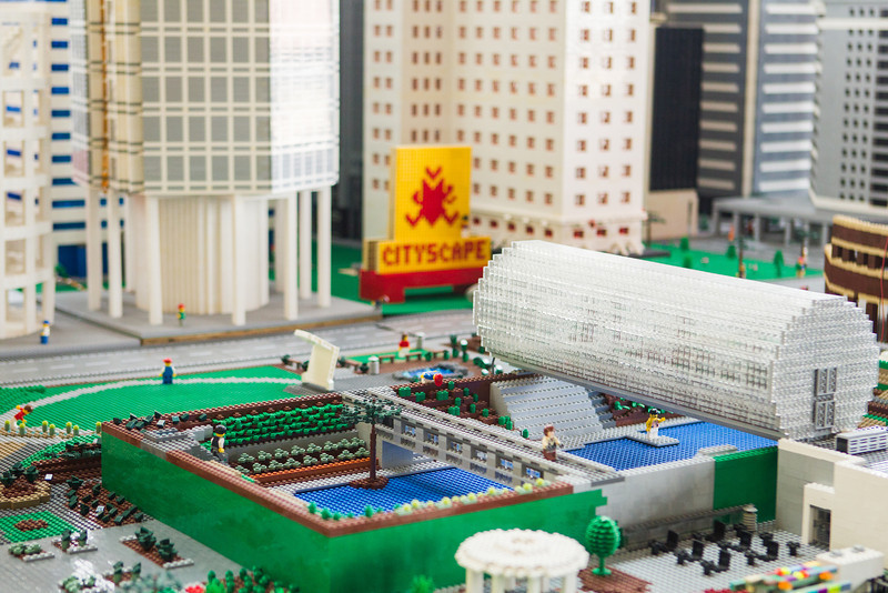 Downtown Oklahoma City replicated in Lego.