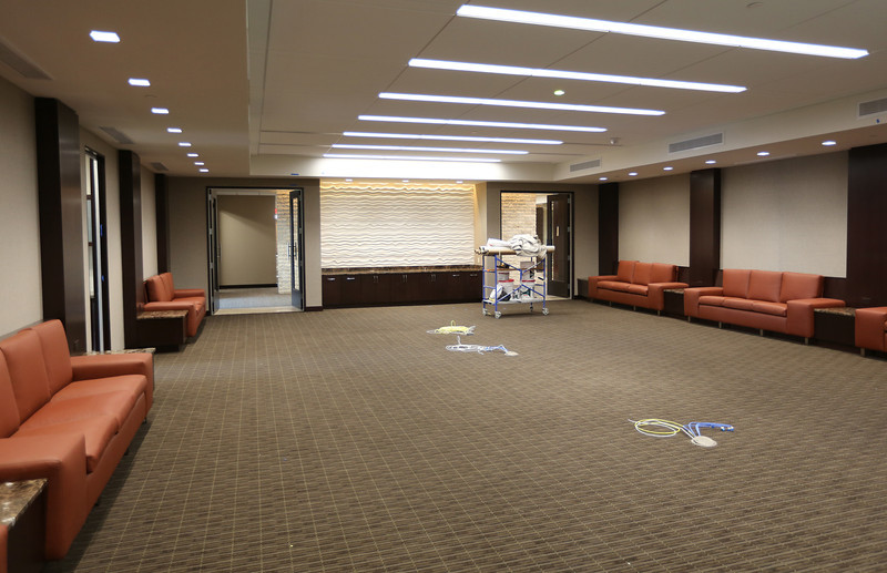 The nearly completed board room of the Cimarex Energy Company's suite in the One Place Tower.