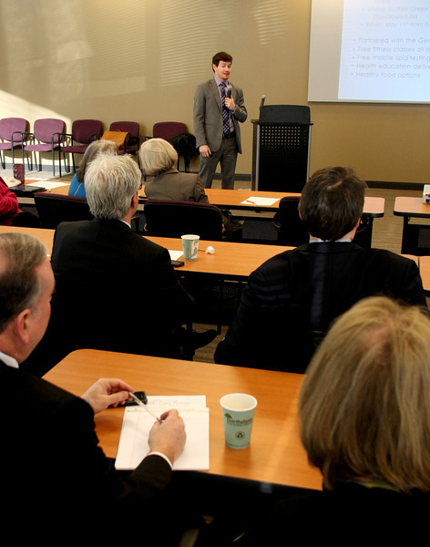 Mike Noshay gives his presentation about Tulsa's MyHealth Access Network at the metro chambers health care forum.