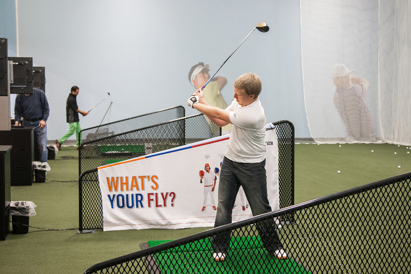 The indoor driving range at the new Golfsmith at Memorial and Penn.