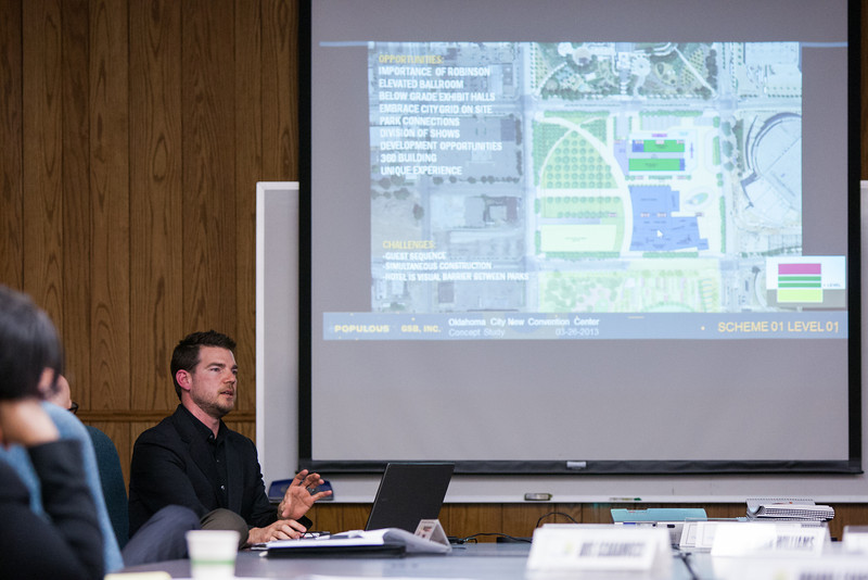 Architect Micheal Lockwood presents options for the future convention to the Oklahoma City Citezens Advisory Board.