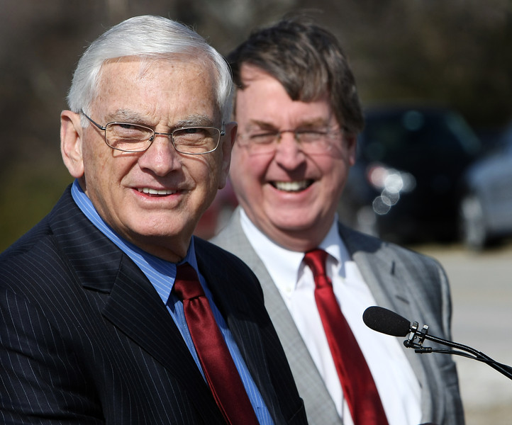Charles L. Hardt and Tulsa Mayor Dewey Bartlett share a laugh during the groundbreaking of the new Charles L. Hardt Operations Maintenance and Engineering Center named  after Mr. Hardt, who retired from the City of Tulsa in 2011.