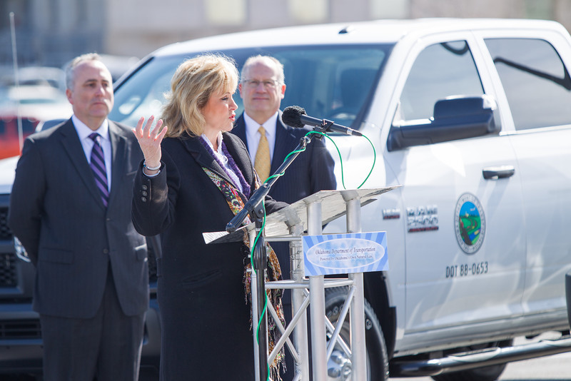 Gov Mary Fallin took reciept of new Dodge CNG trucks that will be replacing the gas trucks at the Oklahoma Department of Transpertation.
