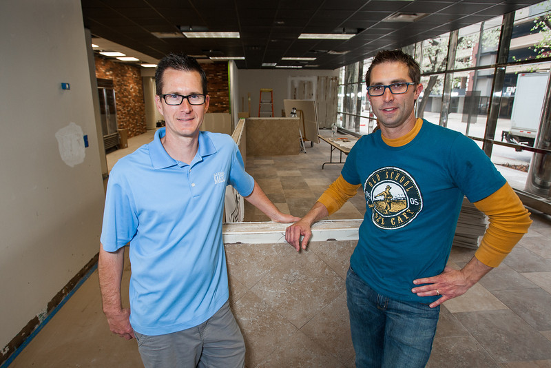 Kyle Tapp and Wayne Hansen, co-owners of Old School Bagel Cafe at their newest location in Leadership Square in downtown Oklahoma City.
