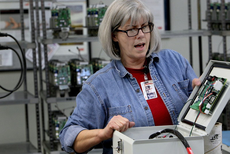 ABB employee Myra Hamilton assembles one of the companies natural gas measuring units.  ABB announced plans for a $14 million expansion to its Bartlesville facility, creating more than 250 new jobs for the area.