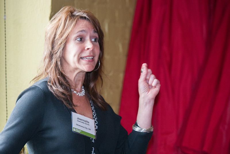 Bricktown Association Executive Director Jeanette Smith speaks at an Urban Land Institute event on Thursday, March 28 at Yukatan Taco Shop in Bricktown. Smith spoke about the future of the area and what developments are under way or being sought.