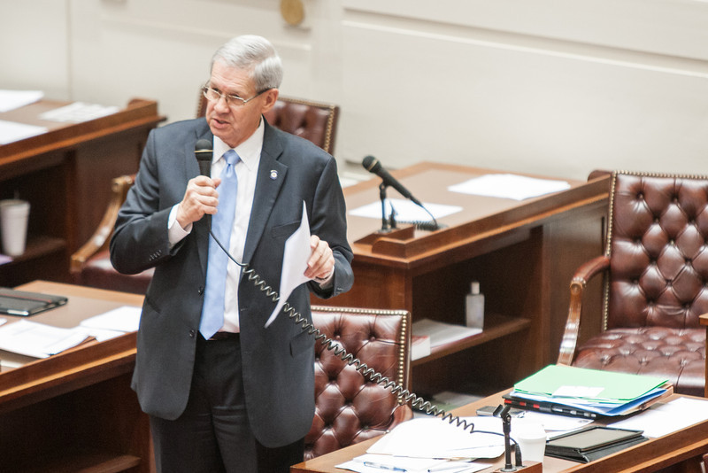 Senetor Frank Simpson discusses new ODVA legislation on the floor of the Oklahoma Senate.