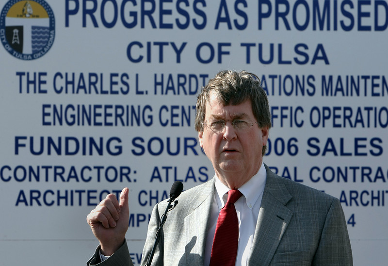 Tulsa Mayor Dewey Bartlett speaks to the audience assembled for the groundbreaking of the new Charles L. Hardt Operations Maintenance and Engineering Center named  after former Public Works Director Charles L. Hardt, who retired from the City of Tulsa in 2011.