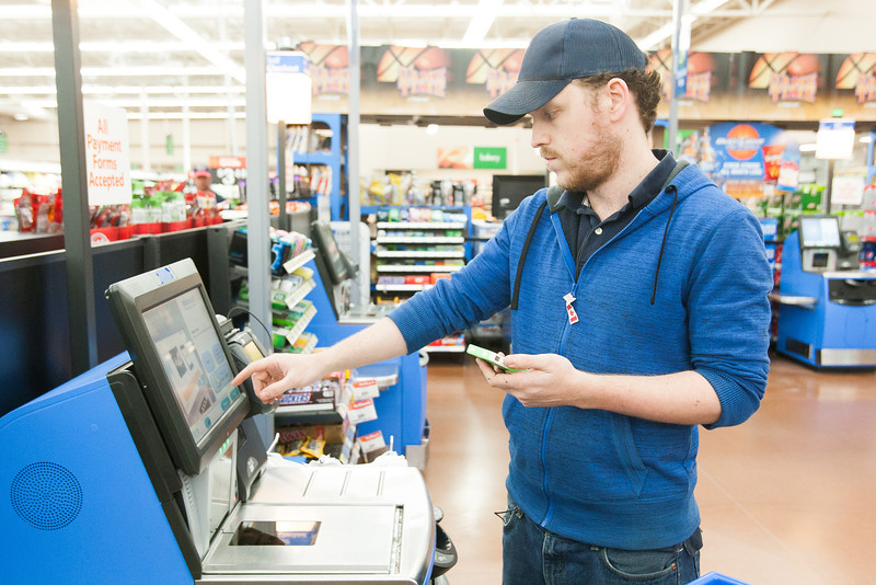Wal-Mart has added Scan & Go to locations in the Oklahoma City metro. Their new system allows customers to ring up purchases on their smart phones as they shop. Self check out time is ruduced as the registers are used to pay only.