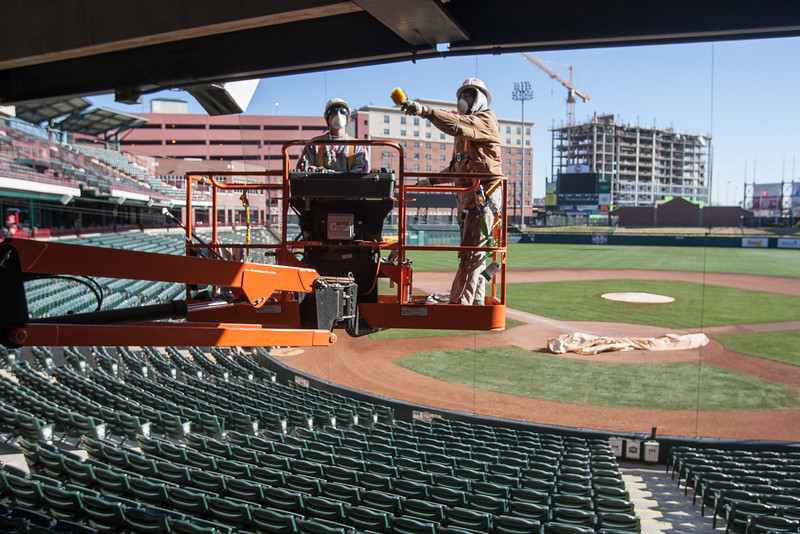 Crews are preparing Chickasha Bricktown Ballpark for the Redhawk's 2013 season. The first home game is scheduled for April 12.