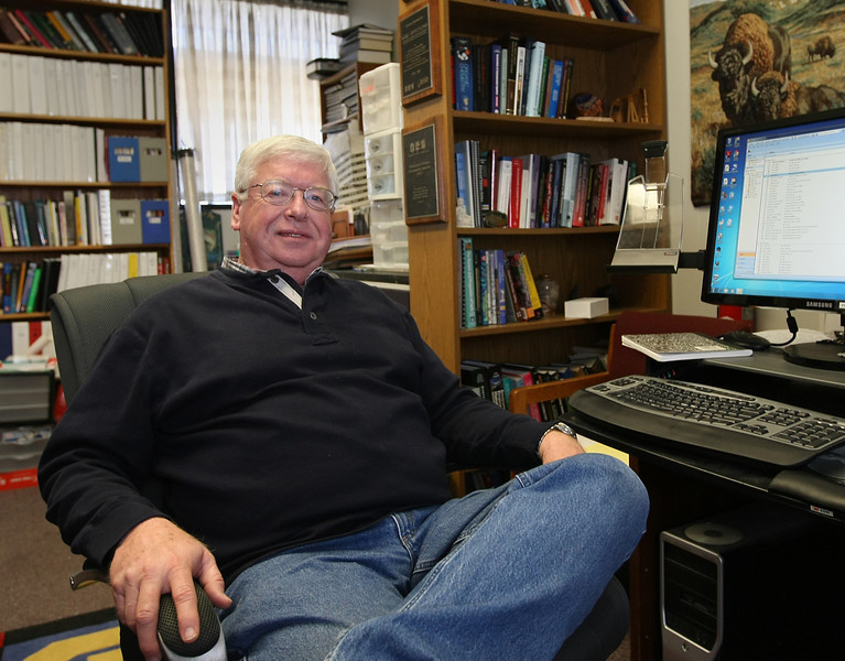 Kerry Sublette PH.d., Sarkeys Professor of Environmental Engineering, pauses for a photo in his office at the University of Tulsa.
