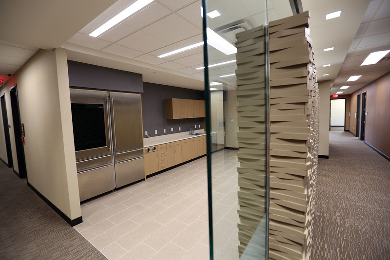 The nearly completed break room of the Cimarex Energy Company's suite in the One Place Tower.