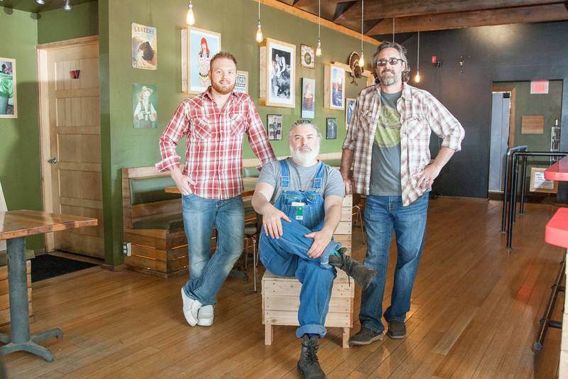 Chef Nick Davis with owners Bryan Neel and Shannon Roper at the new S&B Burger Location at 1 NW 9th in Oklahoma CIty, OK.
