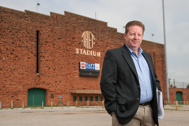 Gary Armbruster, principal architect at MA+Architecture, at the Taft Middle School stadium. The stadium is being remodeled begining this summer.