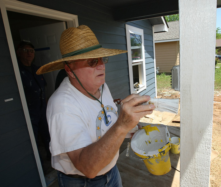 Bart Cronin works on one of several Habitat for Humanity houses under construction in west Tulsa.