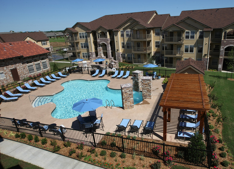 The swimming pool and club house at the Cascata apartments in south Tulsa.