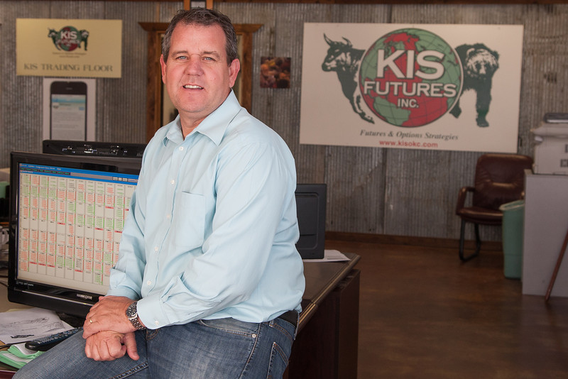 Lane Broadbent with KIS Futures located in the Oklahoma City Stockyards.
