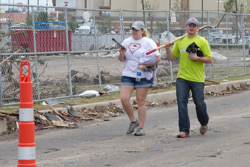 Tera Jordan with her brother Chad drove from Owasso, OK to help with clean in Moore, OK after the twon was hit by an EF5 tornado on May 20, 2013.