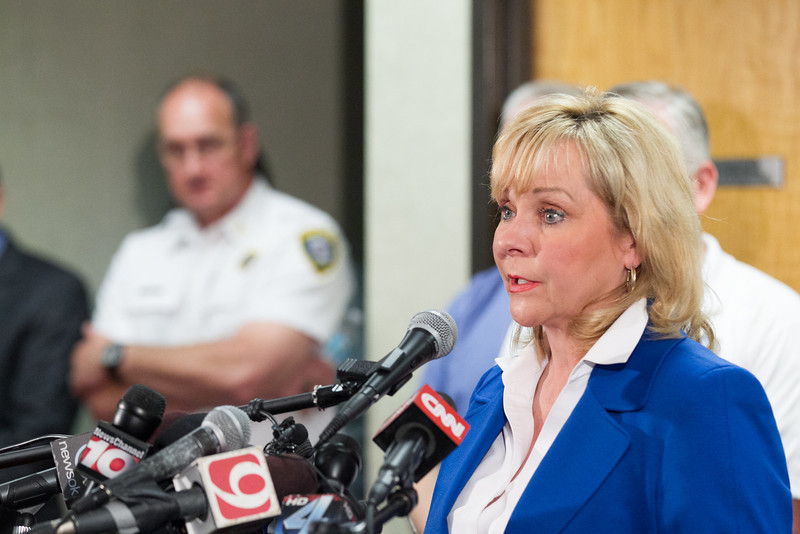 Gov. Mary Fallin updated the press on ongoing rescue and recovery efforts at the Moore City Offices in Moore, OK.