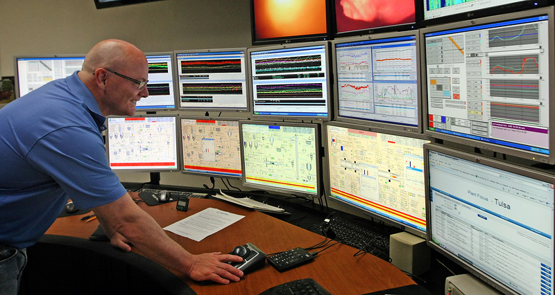 Sean Brennan, Plant manager of Central Plains Cement Company in Tulsa.<br /> <br /> He's in the control room