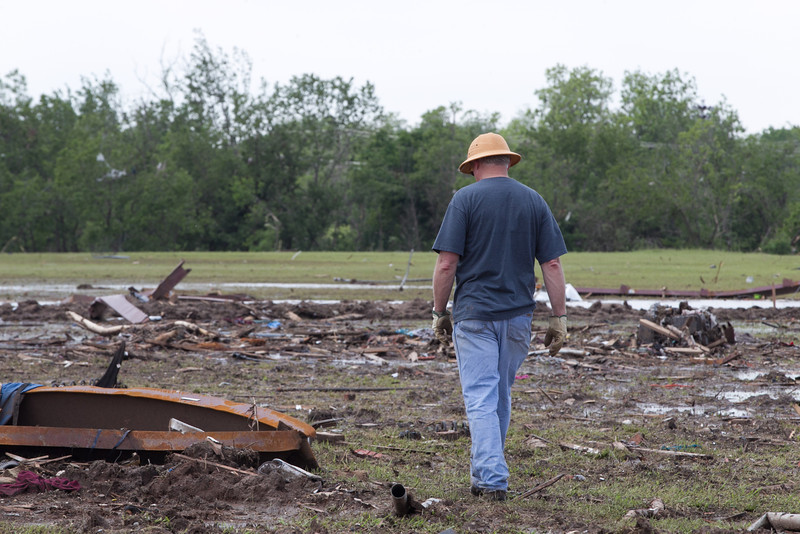 Residents, volenteers and insurance adjusters at the homes destroyed in the May 20th, 2013 tornadando in Moore, OK.