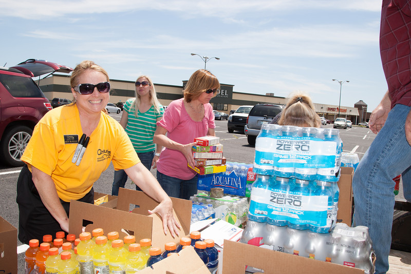 Members of the Edmond Board of Realtors taking donations for tornado victims and first responders at 33rd and Boulavard in Edmond, OK.