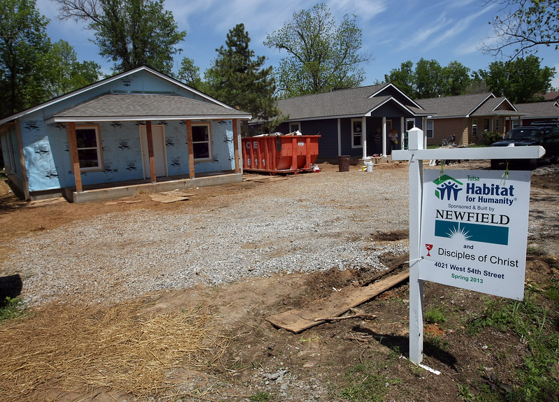 Habitat for Humanity houses under construction in west Tulsa.