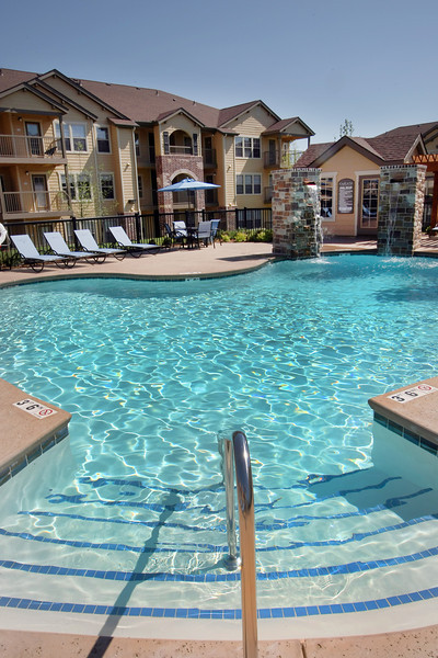 The swimming pool  at the Cascata apartments in south Tulsa.