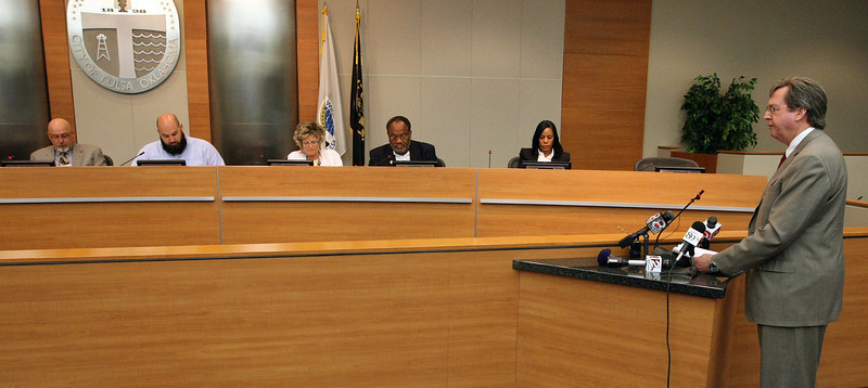 City Councilors listen as Mayor Dewey Bartlett presents the  City of Tulsa proposed Fiscal 2013-2014 budget.