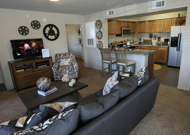 Typical living room and kitchen configuration at the Cascata apartments in south Tulsa.