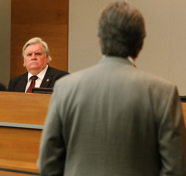 City Councilor Byron Steele listens as Mayor Dewey Bartlett presents the  City of Tulsa proposed Fiscal 2013-2014 budget.