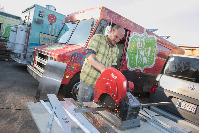Jeff Gent, with KLB Construction and Finishing Service, working on one of the Big Truck Taco food trucks.