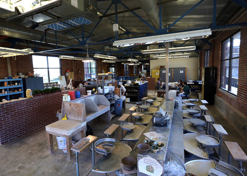 The pottery area of the WaterWorks Art Center in Tulsa.
