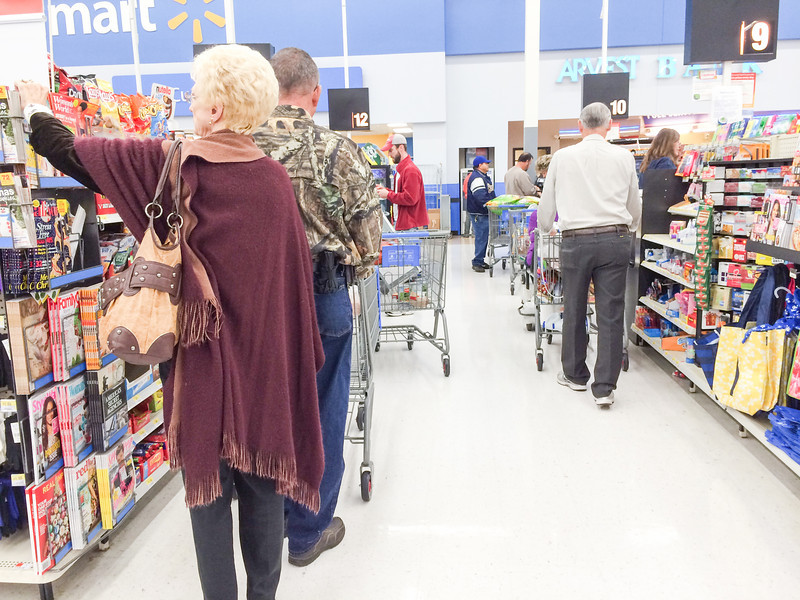 Shoppers in line at Wal-Mart in Oklahoma CIty, OK.