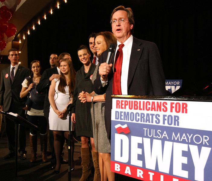Mayor Dewy Bartlett III  announces his victory at the polls and that he will serve a a second term as Tulsa Mayor.