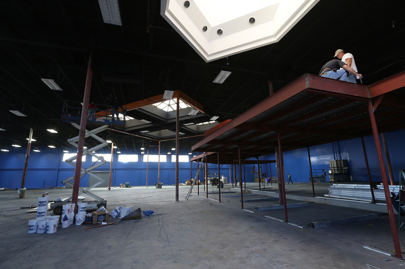 Construction continues at Sky Zone, an indoor trampoline entertainment complex in Tulsa.