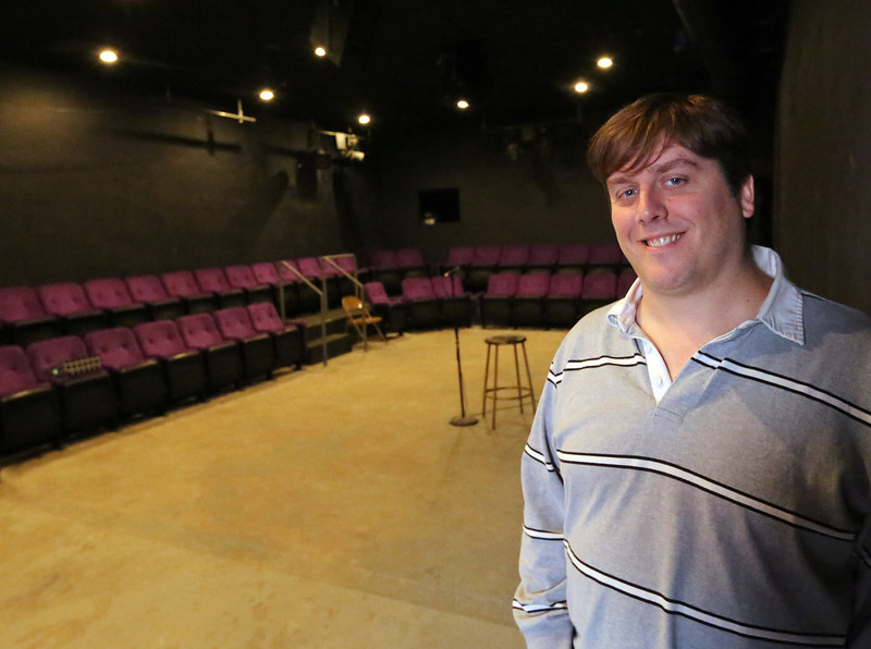 Pausing for a photo is Co-owner of Jason Watts of NogginJog, a new comedy club opening at 328 E. 1st St. Tulsa's Blue Dome District.