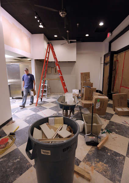Construction continues on a Deli at the Atlas Life Building.